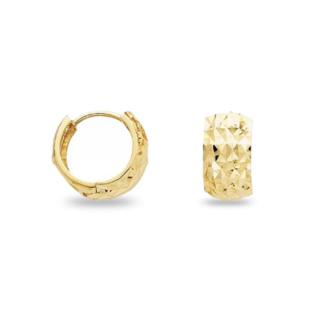 Details About Solid 14k Yellow Gold Wide Huggie Hoop Earrings Small Round Huggies Diamond Cut