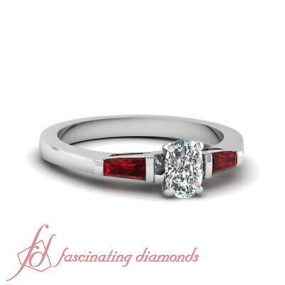 .70 Ct Cushion Cut D-Color Diamond & Ruby Baguette Engagement Ring 14K Gold GIA