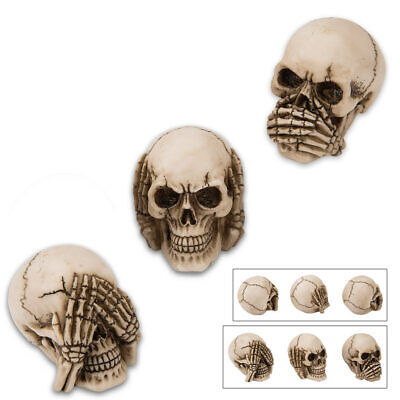 See No, Hear No, Say No Evil Carved Skull Statues Figurine Gift Set Halloween