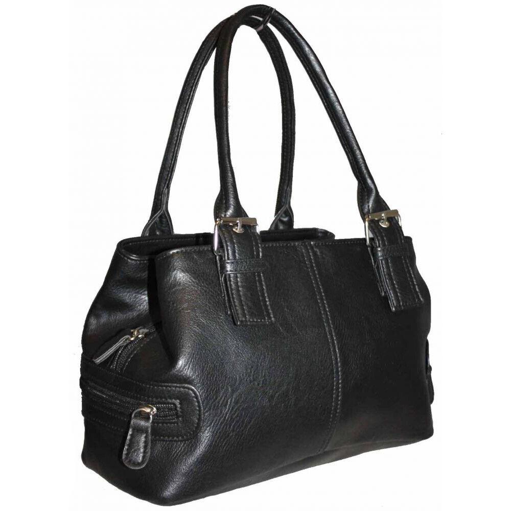 Damen Baguettetasche Henkeltasche Handtasche Tasche Schwarz Grau