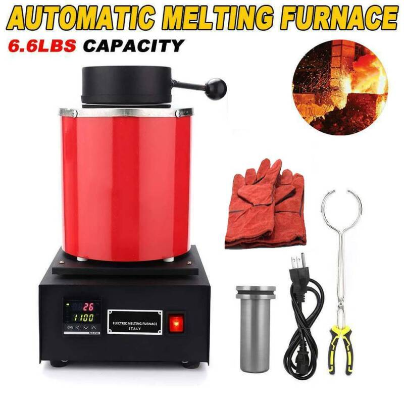 1500W Automatic Melting Furnace Melt 3kg Silver Gold Jewelry