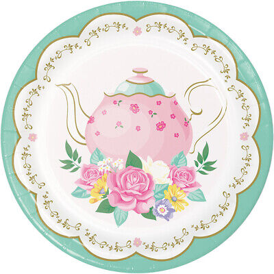 Floral Tea Party Dessert Plates, 24 Count - Tea Party Paper Plates