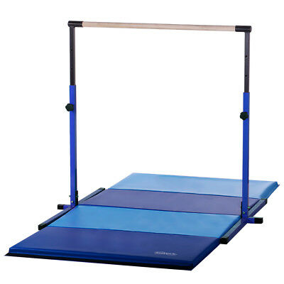 Blue Adjustable Height Horizontal Bar Blue/Light Blue Gymnastics Mat Combo
