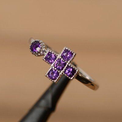 1.3ct Round Cut Purple Amethyst Jesus Cross Engagement Ring 14k White Gold Over 14k Purple Cross