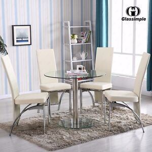 5 Piece Dining Table Set Round Glass 4 Chairs Kitchen Room Breakfast  Furniture