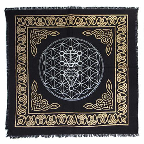 "NEW Kabbalah Tree of Life Altar Cloth 18"" Gold and Black Metallic Fringed Cotton"