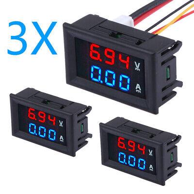 3pc Dc 100v 10a Voltmeter Ammeter Bluered Led Dual Digital Volt Amp Meter Gauge