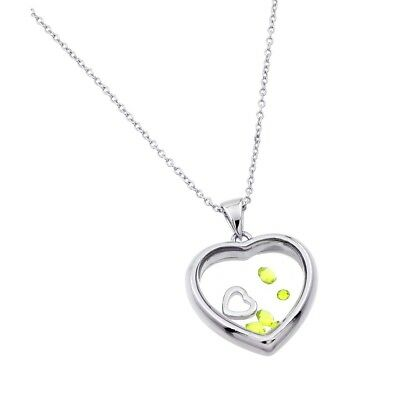 Silver 925 Rhodium Plated Birthstone Heart Pendant Necklace November Citrine