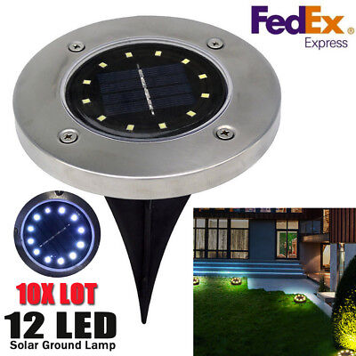 10Pcs Lot 12 LED Solar Power Buried Light Outdoor Path Way Garden Ground LamP Earth Garden Path