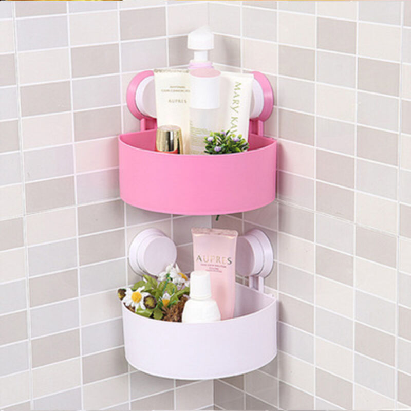 Bathroom Corner Drain Shelves Storage Rack Holder Strong Shelf Suction Q1S2 K9Q0