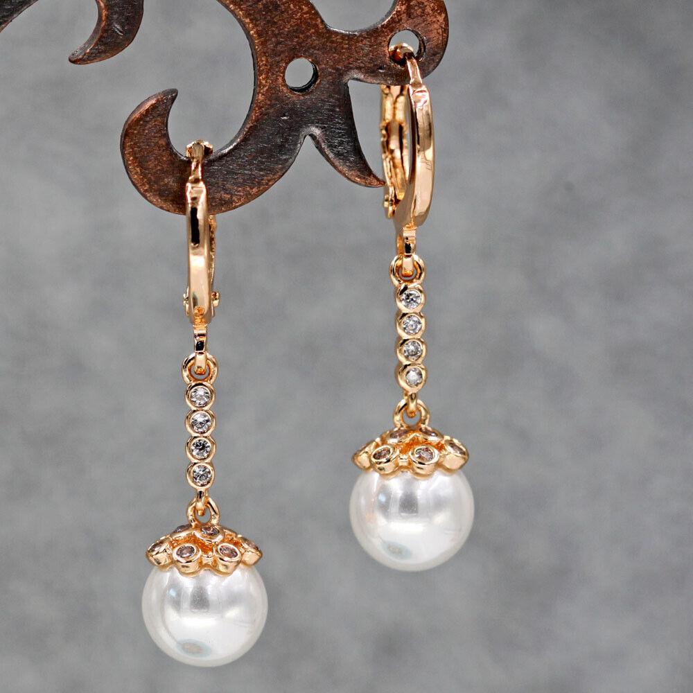"18K Gold Filled 1.2"" Earrings mini Bead string Zircon Topaz"