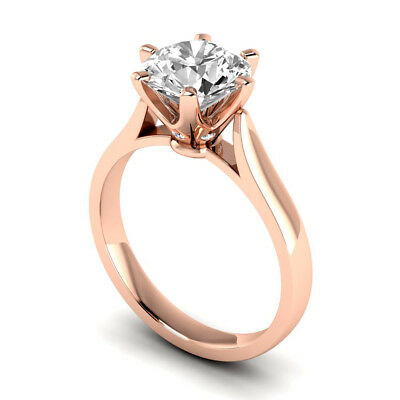 1.30 Ct Round Cut Natural G SI2 Diamond Solitaire Engagement Ring 14K Pink Gold