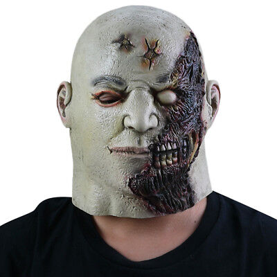 Men Women Scary Flame Burn Disfigured Face Mask For Costume Full Head Latex Mask
