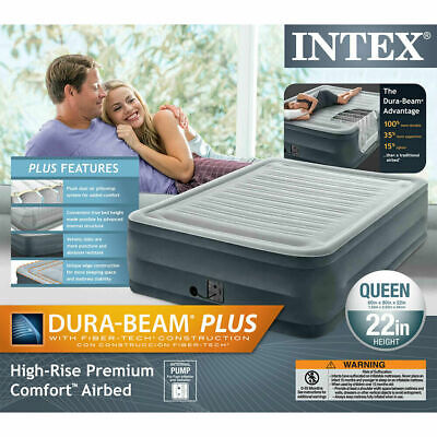 """Queen Size Air Bed Mattress Intex 22"""" With Built-In Electric Pump Raised  New"""