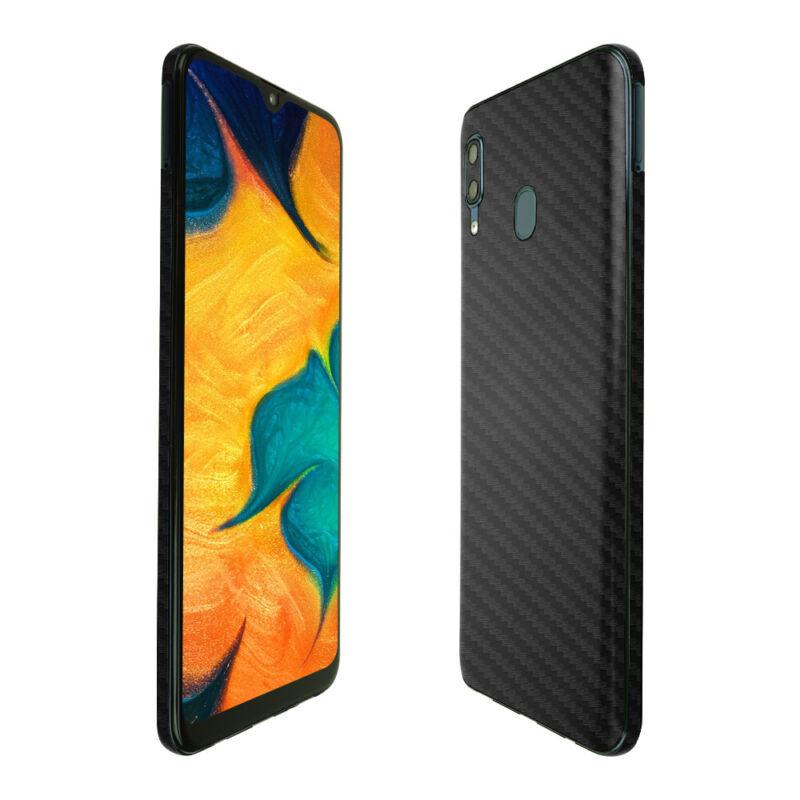 Skinomi Black Carbon Fiber Skin Cover for Samsung Galaxy A20 [SM-A205G-DS]