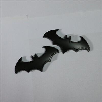 2x Matte Black Bat Metal Sticker Emblem Badge Turbo Motor VIP Decal Auto Logo 3D
