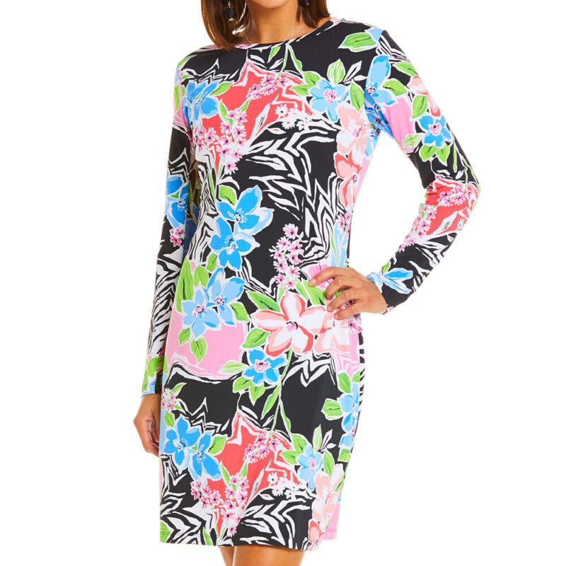IBKUL Ladies Long Sleeve Crew Neck Dress - Amelia Print