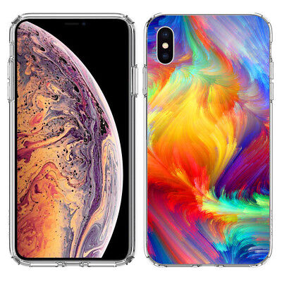 For Apple iPhone XS Feather Paint Colors Hard Cover Case Phone Protector for sale  Shipping to India