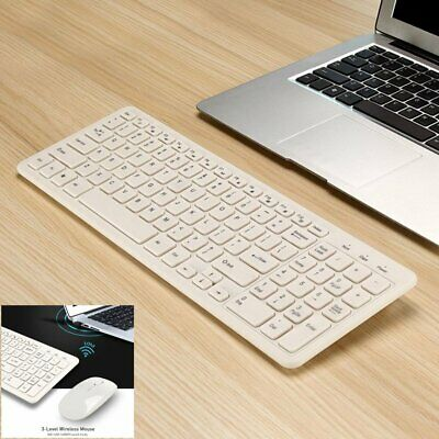 2.4G Ultra-Thin Wireless Keyboard and Mouse Set Combo Quiet For PC Laptop White