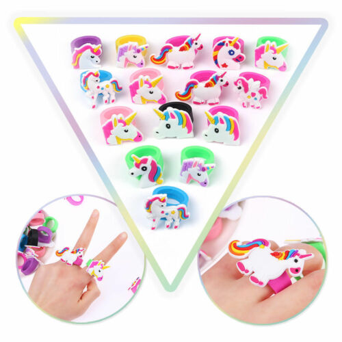 10pcs Cartoon Unicorn Finger Ring Soft Silicone Birthday Party Favor Kids Toys