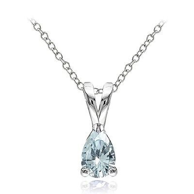 925 Sterling Silver Aquamarine 6x4mm Teardrop Solitaire Necklace