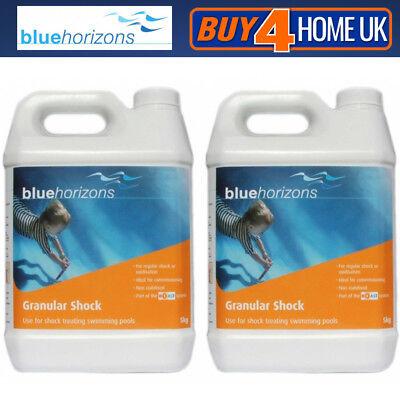 2 x Blue Horizons 5kg Chlorine Granular Shock Hot Tub Swimming Pool Spa Oxidiser