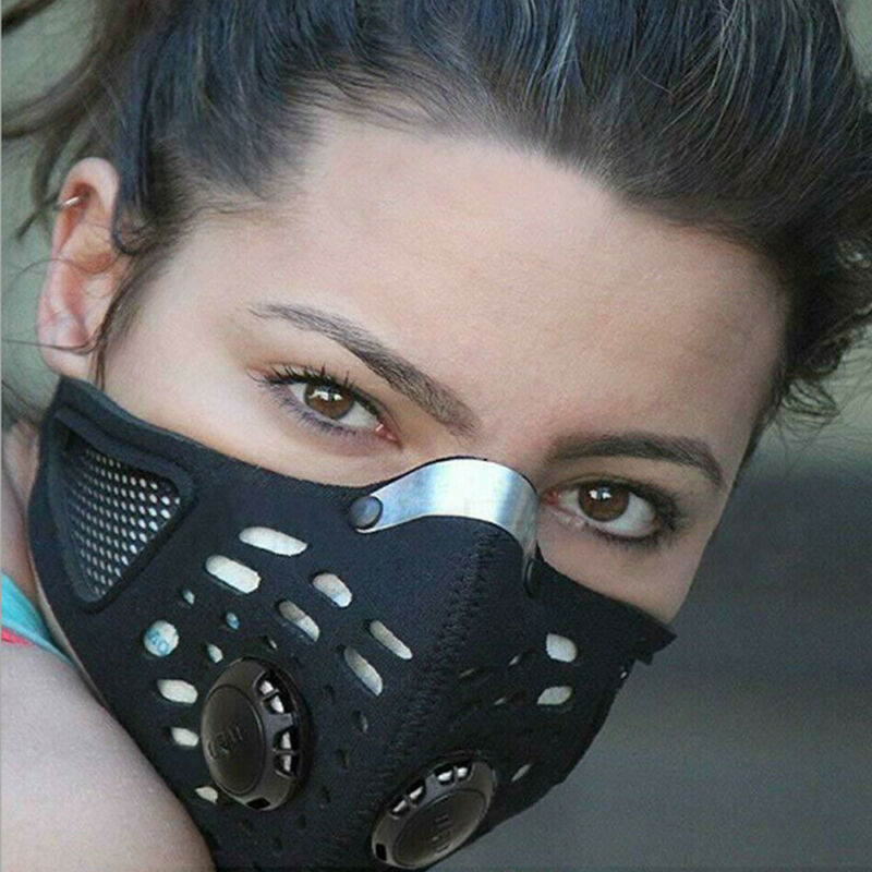 Sport Cycling Face Mask With Active Carbon Filter Breathing Valves Washable