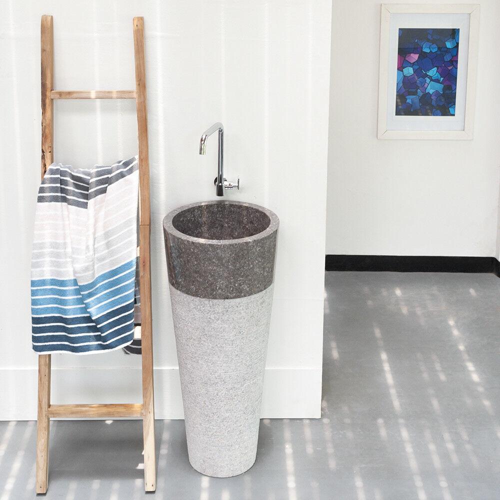 WOHNFREUDEN Marmor Waschtischsäule Standwaschbecken grau 45 x 45 x 80 cm