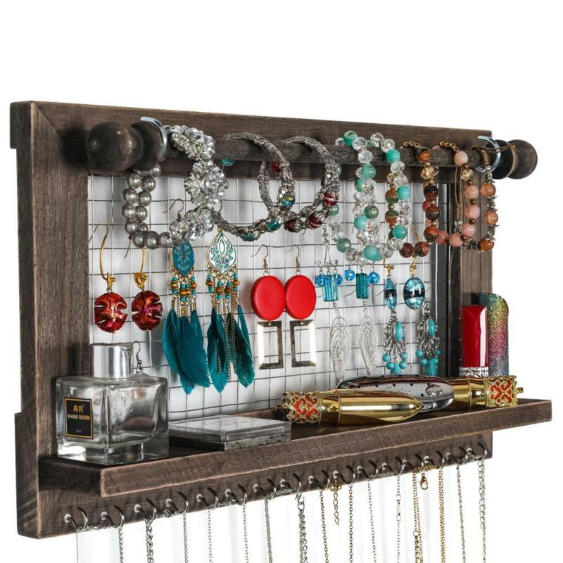 Jewelry Display Organizer Earring Necklace Bracelet Holder with Hook Wall Hanger