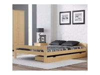 Wooden Pinewood Bed 4FT6 Double Size 135x190 cm Small Rack Varnished Colourless