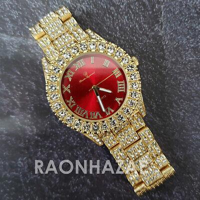 Hip Hop Iced Raonhazae Lab Diamond Bust Down 14K Gold Plated Watch  BSXT2I