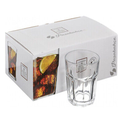 Set of 6 Retro Glass Tumblers Diner Style Drinking Glasses 355ml Juice Water