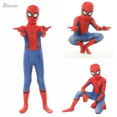 Boys Civil War Costume (Kid Spiderman Homecoming costume Spandex Zentai Civil War Costumes Cosplay Suit)