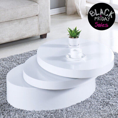 Modern White Round Coffee Table Rotating Contemporary Living Room Furniture