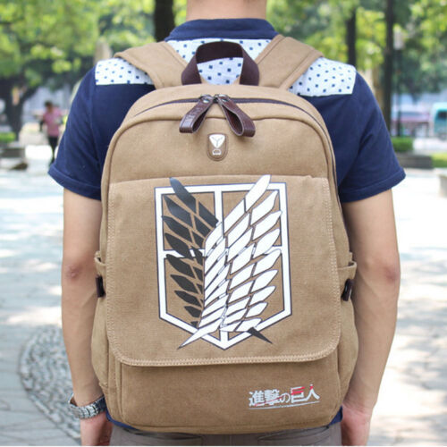 Anime Attack On Titan AOT Canvas Backpack Casual Drawstring Bag Cosplay Rucksack