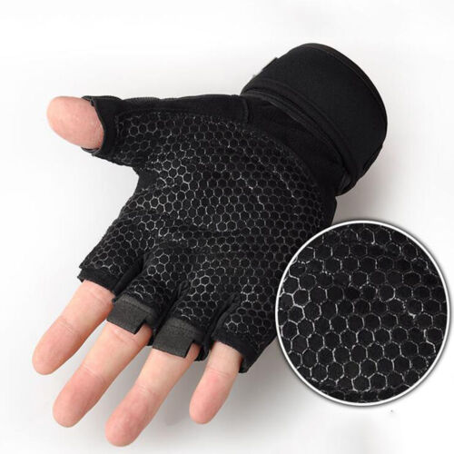 Weight Lifting Padded Leather Gloves Fitness Training Body G
