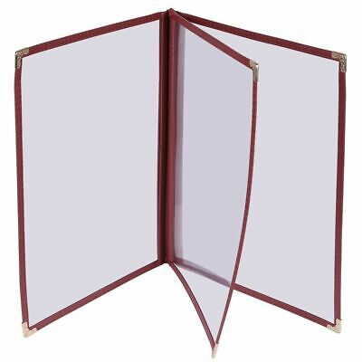 30pc 8.5x14 Menu Cover Trifold 6 View 3 Page Restaurant Cafe Book Clear Burgundy
