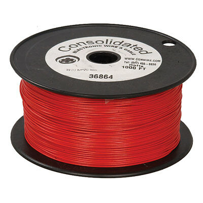 22 Awg Red Solid Tinned-copper Hook-up Wire 1000 Feet