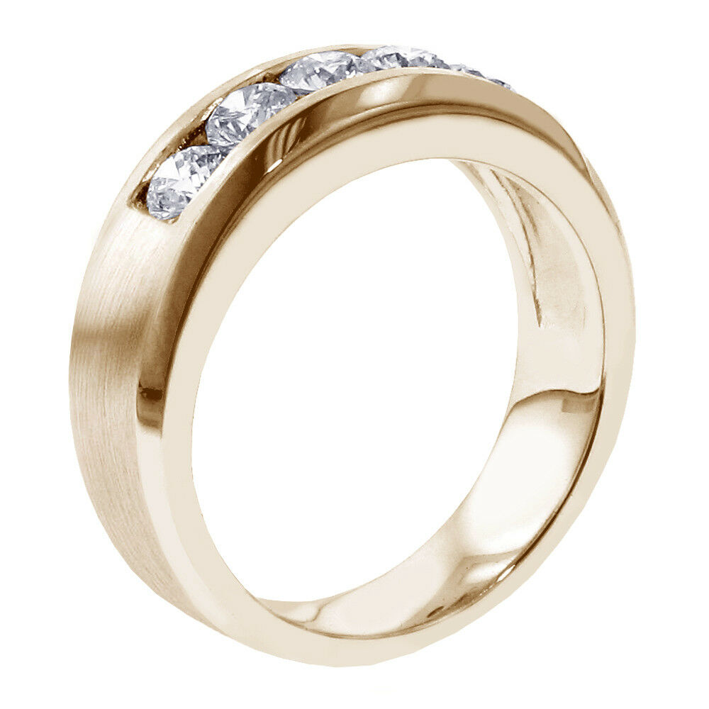 1.00 CT Channel Set Diamond Mens Wedding Ring in 14k Yellow Gold NEW! 3