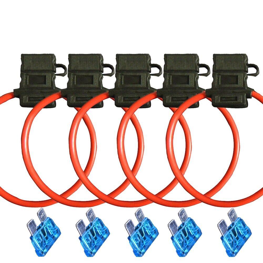 10pc 12 GA ATM//ATC MINI BLADE IN-LINE FUSE HOLDER CAR BOAT COPPER 25 amp Fuse