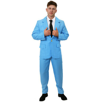 MENS PALE BLUE SUIT COSTUME ADULTS 70S GLAM ROCK PARTY OUTFIT FANCY DRESS