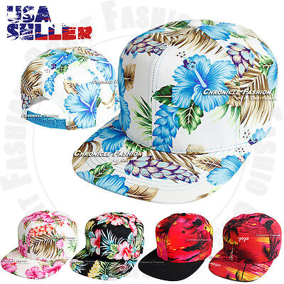 Hawaiian Snapback Hat Baseball Cap Flat Bill Adjustable Tropical Hawaii - Tropical Hat