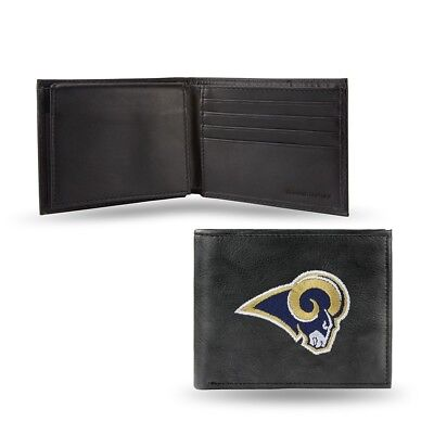 Rico Leather Embroidered Wallet - Los Angeles Rams NFL Leather Embroidered Team Logo Black Billfold Wallet by RICO
