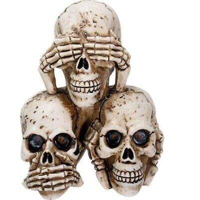 Hear, See, and Speak No Evil Skulls Figurine