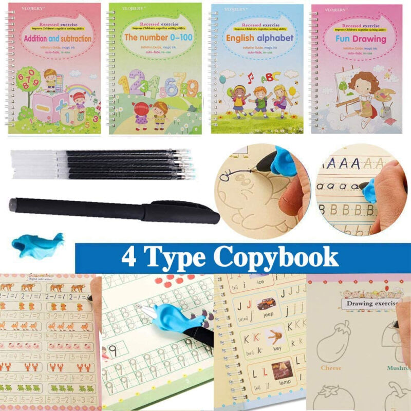11Pcs Magic Practice Copybook Set Reusable English Calligraphy Number Book kids