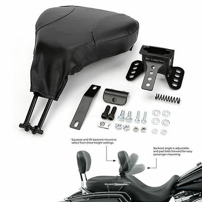 Black PU Detachable Adjustable Rider Driver Backrest Pad+Mounting Kit For Harley