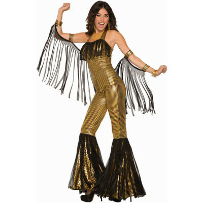Womens Gold Disco Queen 70s Decade Costume - Disco Queen Halloween