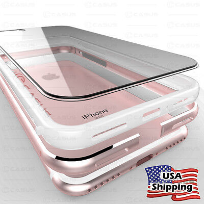 THIN Crystal Clear Back Aluminum Metal Bumper Slim Case Cover iPhone 8 7 6S Plus