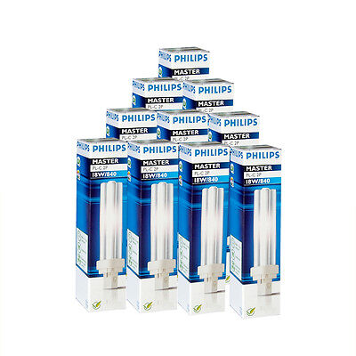 10x Philips Master PL-C 2P18W 840 Base G24d-2 18 Watt Lámpara ahorro de energía