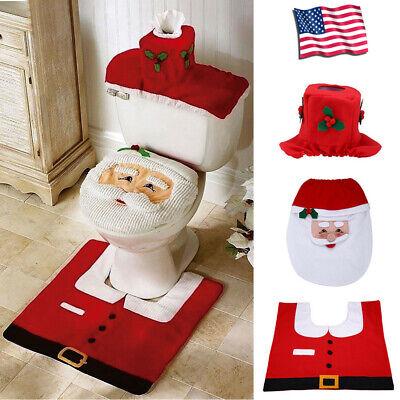 Christmas Bathroom 3pcs/Set Santa Toilet Seat Cover Floor Mat Holiday Decoration ()